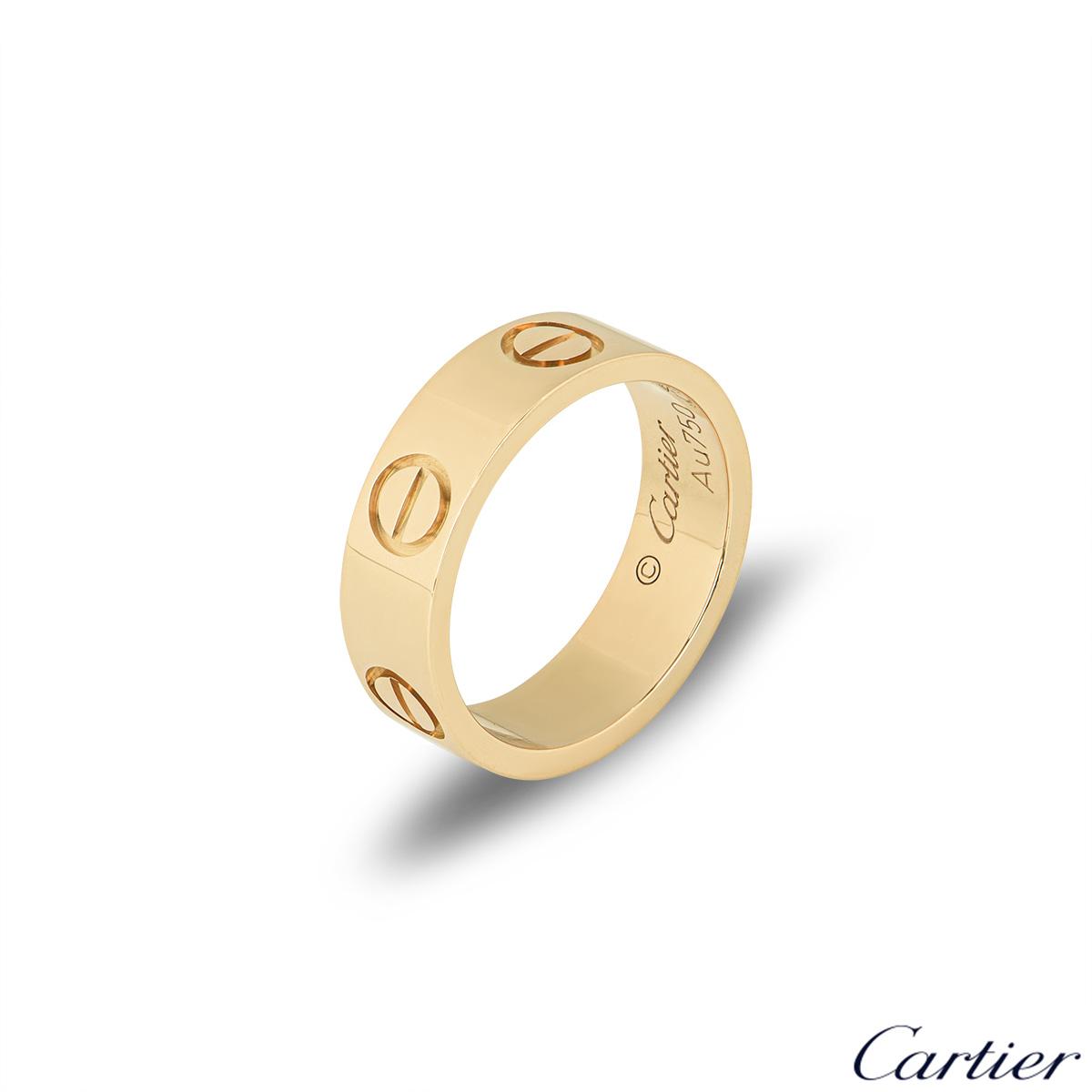 Cartier Yellow Gold Plain Love Ring Size 52 B4084600